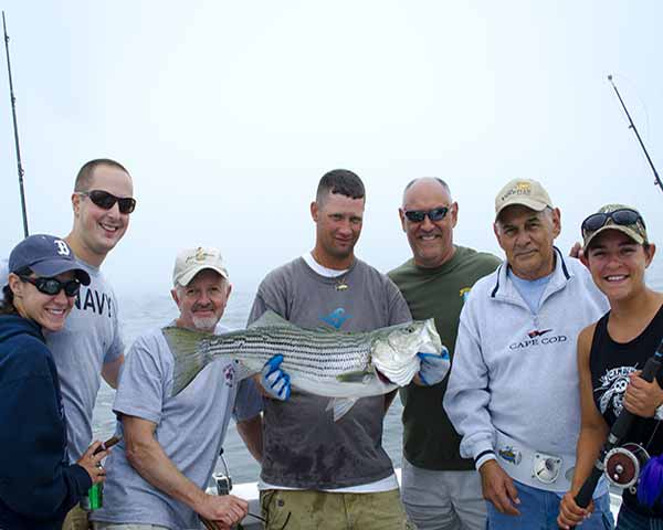 Group fishing together on Nantucket Sound
